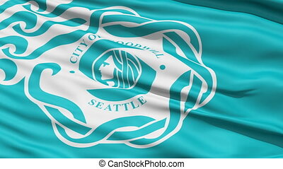 American City Flag of Seattle - Seattle Waving American City...