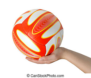 Hand with volleyball isolated on the white background