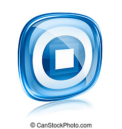 Stop icon blue glass, isolated on white background.