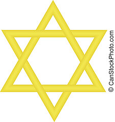 star of David - Vector illustration of gold star of David