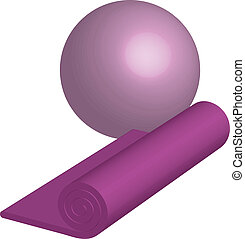 yoga mat and ball - Vector illustration of yoga mat and ball