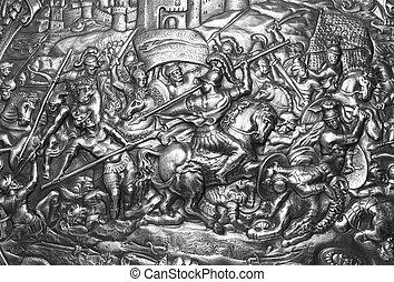 antiguo, guerrero, protector, Carthago, batalla,...