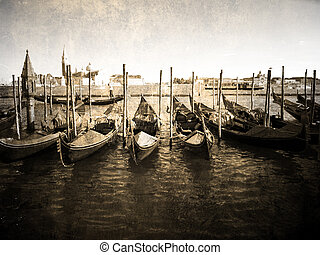Gondola - Venetian gondola- faded and rustic picture...
