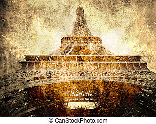 Eiffel tour- Paris symbol - Eiffel tour- faded postcard...