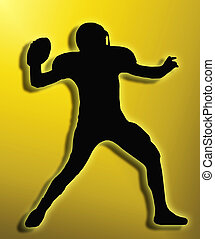 Golden Back Silhouette American Football Quarterback Throw -...