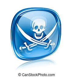 Pirate icon blue glass, isolated on white background.