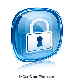 Lock icon blue glass, isolated on white background