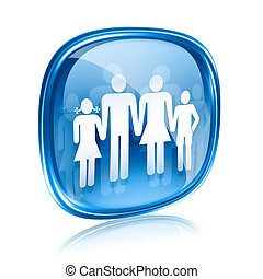 family icon blue glass, isolated on white background.
