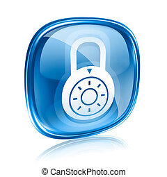 Lock off, icon blue glass, isolated on white background