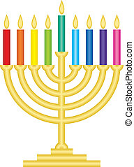 Channukah lamp  - Vector illustration of Channukah lamp