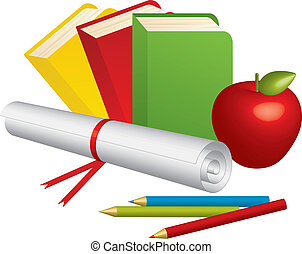 School Supplies - Vector illustration of 3d School Supplies