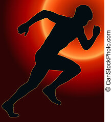 Sunset Back Sport Silhouette - Male Sprint Athlete - Sunset...
