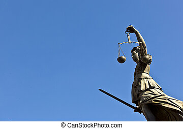 "Statue of Lady Justice ""Justitia"" in front of the Romer in..."