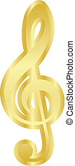 treble clef - Vector gold treble clef