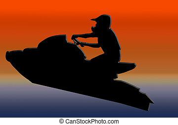 Sunset Back Jet-ski Racer Jumping - Sunset Back Isolated...