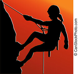 Sunset Back Abseiling Lady - Sunset Back Isolated Image of a...