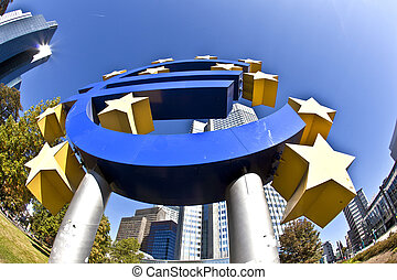 EURO Sign in Frankfurt - The European Central Bank (ECB) on...