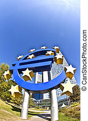 EURO Sign in Frankfurt - The European Central Bank ECB on a...