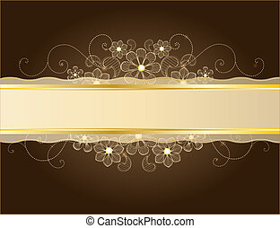 gold lace - Beauty floral illustration, place for your text