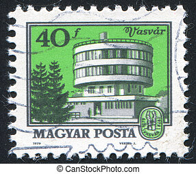 Vasvar Public Health Center - HUNGARY - CIRCA 1979: stamp...