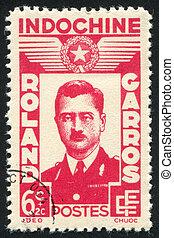 Aviator Roland Garros - INDO-CHINA CIRCA 1943: stamp printed...
