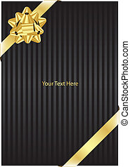 black background with gold bow - Vector black background...
