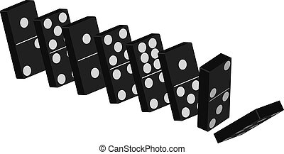 Domino Effect - Standing Black Tiles Isolated On White...