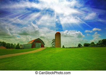 Old farm - An old farm with a barn and silo