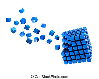 Cubes - Three-dimension blue multitude of cubes