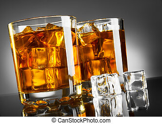 Whisky and ice - Whisky glass with ice cubes