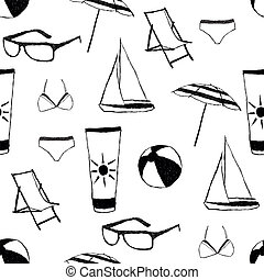 doodle summer seamless pattern