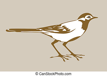 wagtail silhouette on brown background, vector illustration