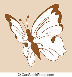 butterfly silhouette on yellow background, vector...