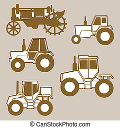 tractor silhouette on brown background, vector illustration