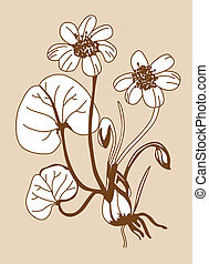 field flower silhouette on brown background, vector...