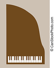 piano silhouette on brown background, vector illustration