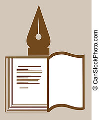 book silhouette on brown background, vector illustration