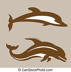 two dolphins on brown background, vector illustration