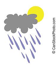 rain silhouette on white background, vector illustration