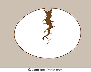 egg silhouette on brown background, vector illustration