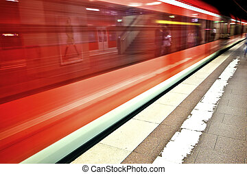 subway in the station with speed