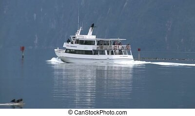 Boat on Milford Sound - Charter cruise boat in the Milford...