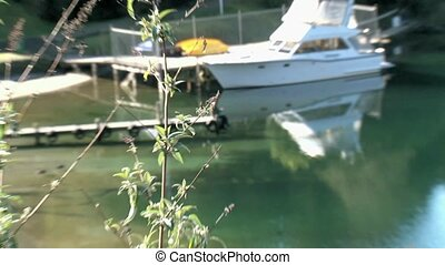 Boat moored Lake Tarawea - Boat moored at Wharf on Lake...