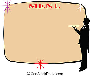 menu with copy space and waiter in silhouette