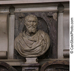 Bust of Michelangelo - Michangelo's tomb in the Basilica of...