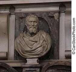 Bust of Michelangelo - Michangelo's tomb in the Basilica of...