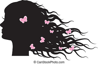 girl - Vector silhouette of girl with butterflies in hair
