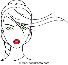 Indian woman - Vector illustration of Indian woman