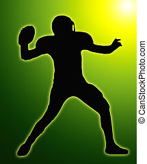 Green Glow Silhouette American Football Quarterback Throw -...