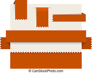 Red paper tags - Vector ribbons